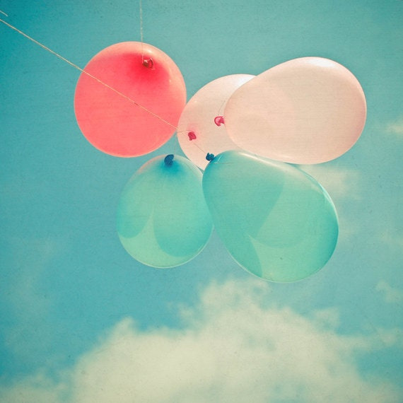 Flying High - Balloon photography, balloon art, nursery art, childrens art, teal, pastel pink, red, pastel decor 8x8 print - LolasBaby