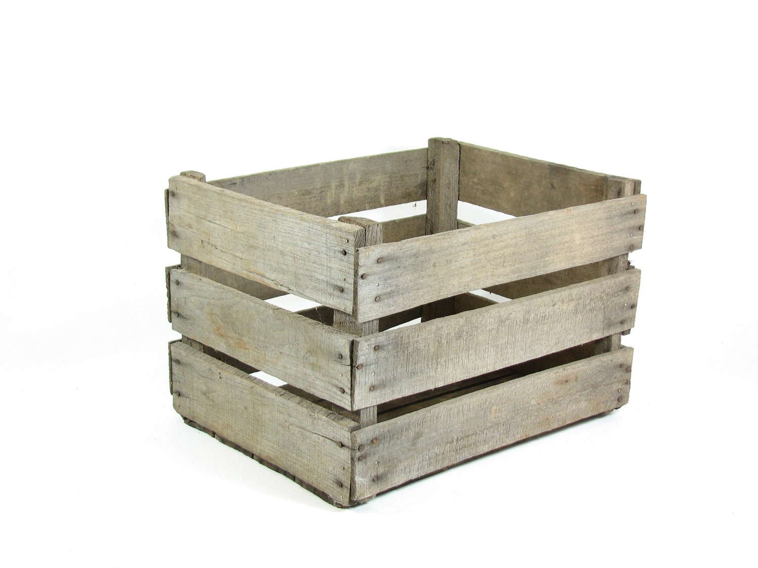 Vintage wood crate fruit crate stackable crate by for Wooden fruit crates