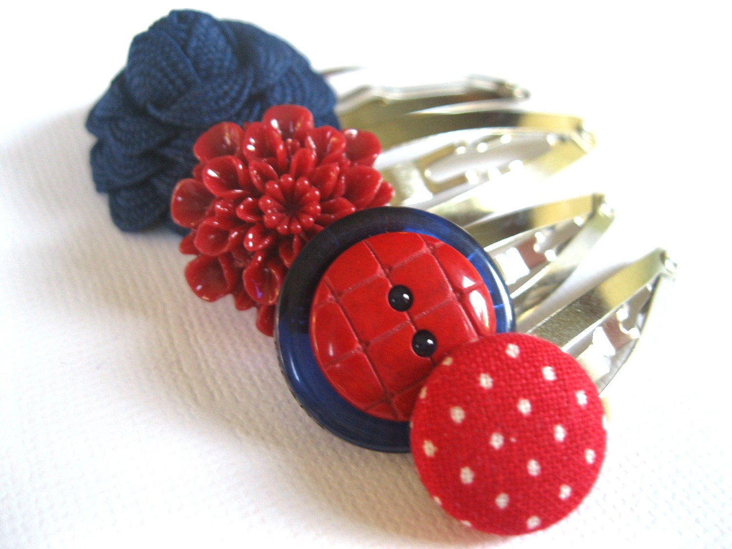 Funky Hair Clips Set of Four - Navy Blue Red and White Mix of Snap Clips - Flowers and Buttons - Rotifera