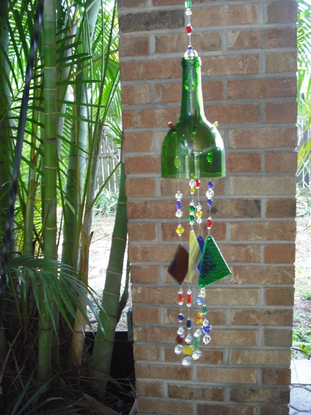 Multi Colored Glass Upcycled Green Wine Bottle By