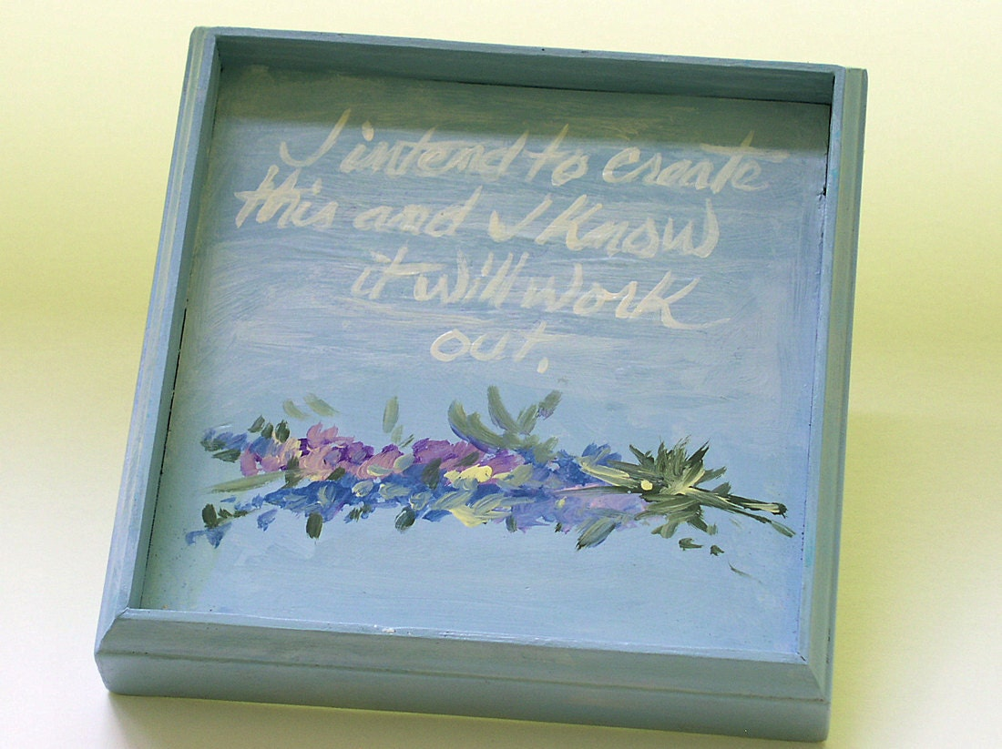 Painted Keepsake Creation Box with Colorful Garden and Handcrafted Bird