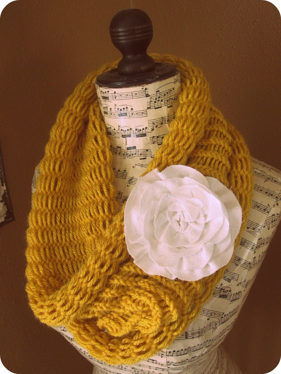 Butternut Squash Yellow Cowl with Cream Rose