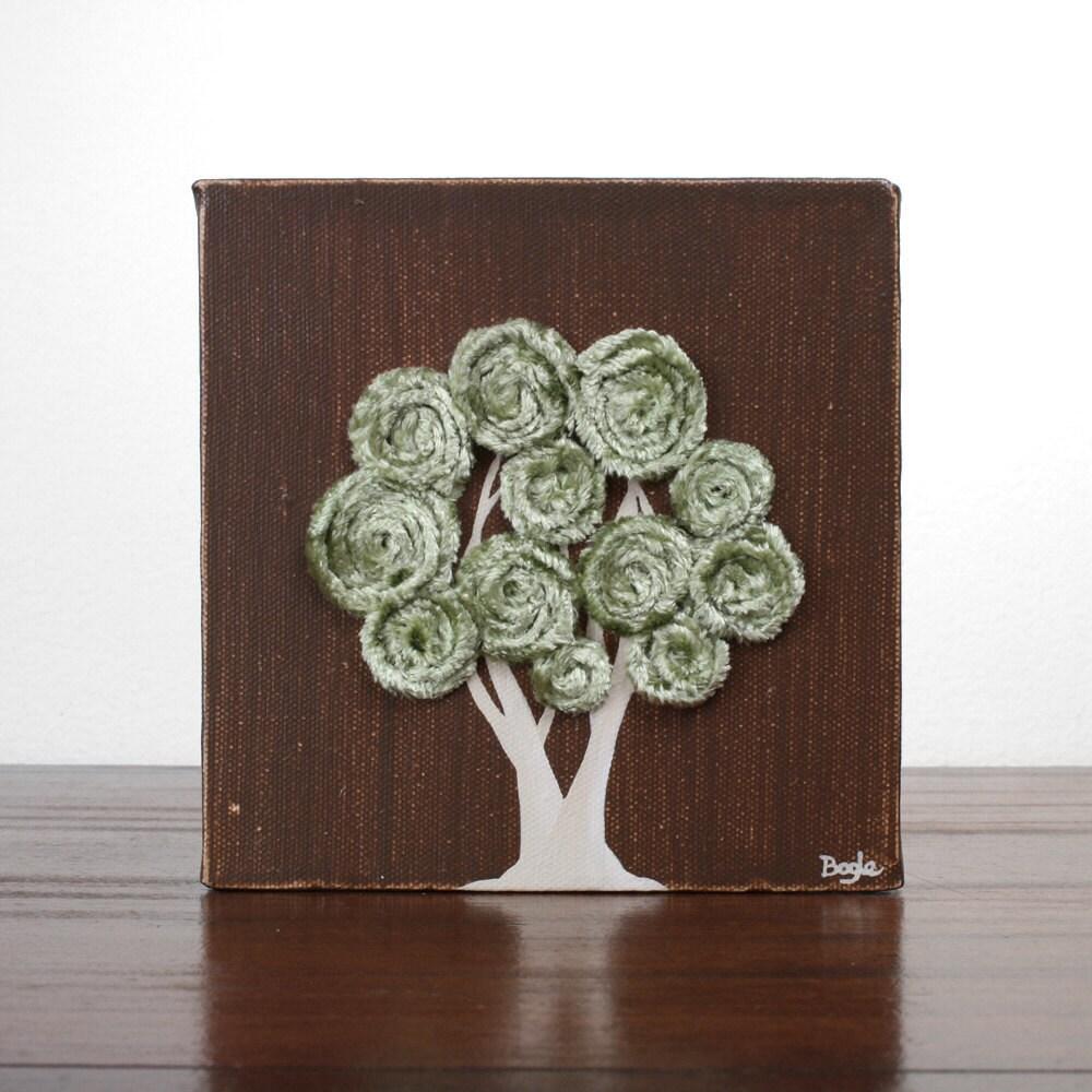 Мини Лесной Живопись - Коллекционные оригинальную художественную Холст - подарок для Него - Земля коричневого и зеленого деревца
