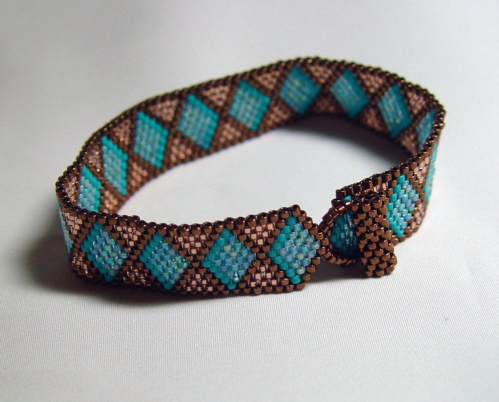 Copper  and Turquoise Beadwoven Bracelet