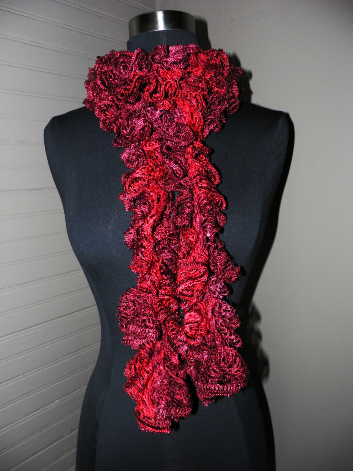 Crochet Scarf Patterns Using Sashay Yarn : Crochet Ruffle Scarf Sequins by EvergreenKnots on Etsy