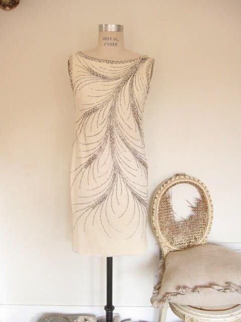 vintage 60s beaded FEATHER mini dress