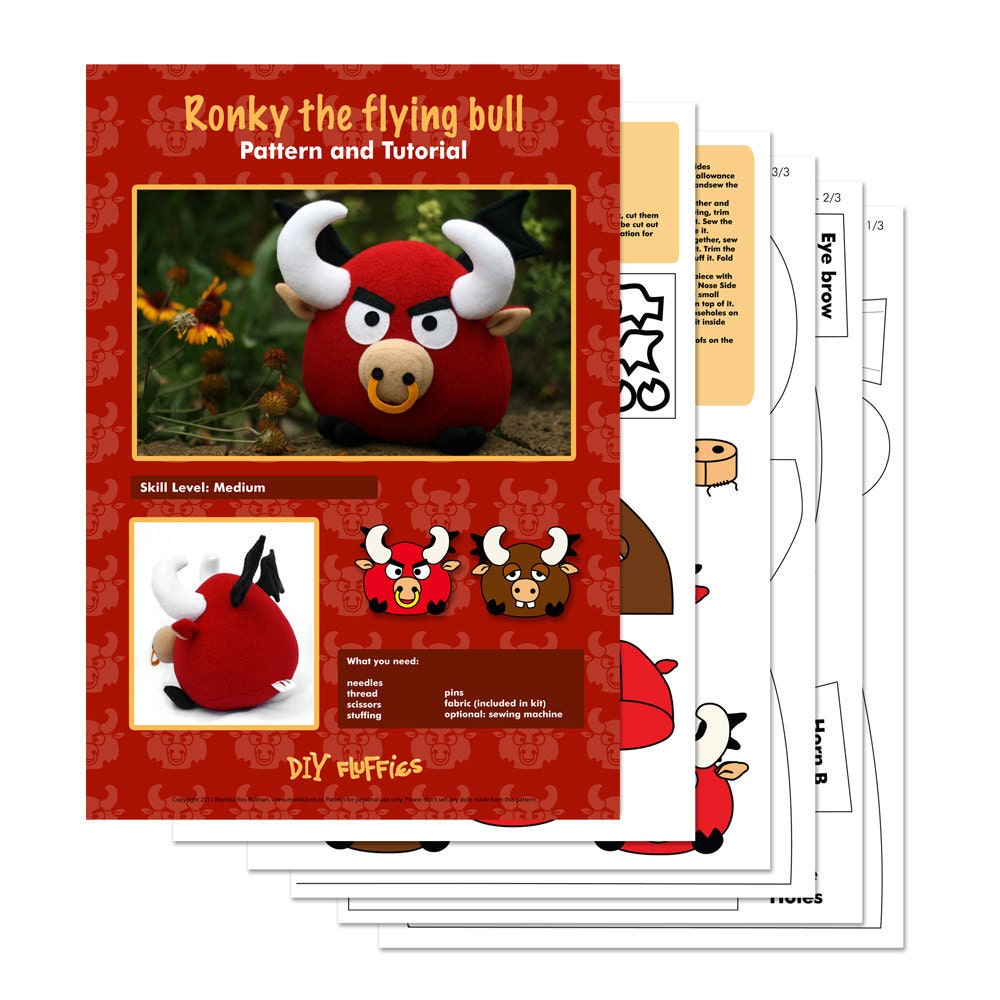 Ronky the flying red bull  PDF sewing pattern by DIYFluffies