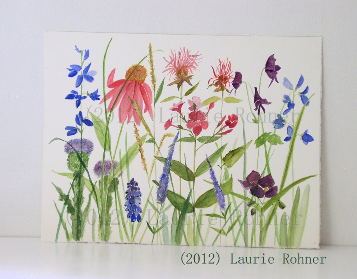 Watercolor Painting Giclee Print Garden Flowers Museum Quality Artwork by Laurie Rohner 9 x 12