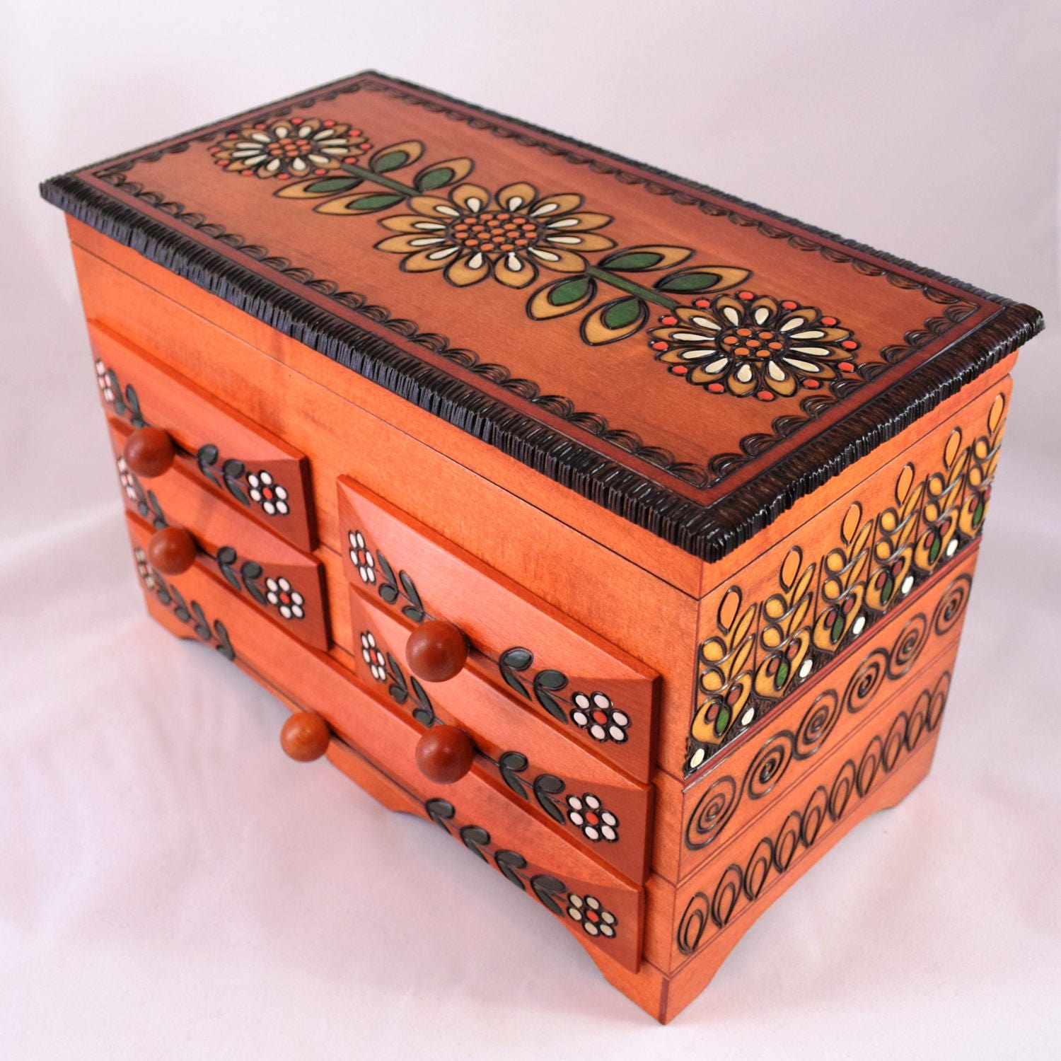 Handmade Wooden Jewellery Chest Keepsake Box Box with Drawers Keepsake Box Trinket Box  Hand carved box Jewelery Chest