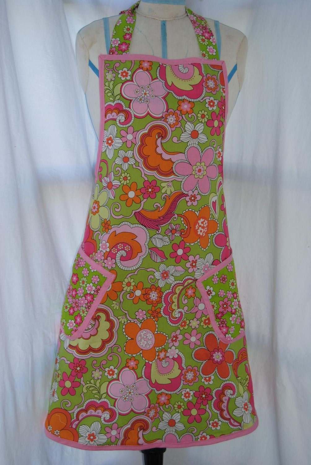 Retro Floral Pink, Orange and Green Womens Full Apron