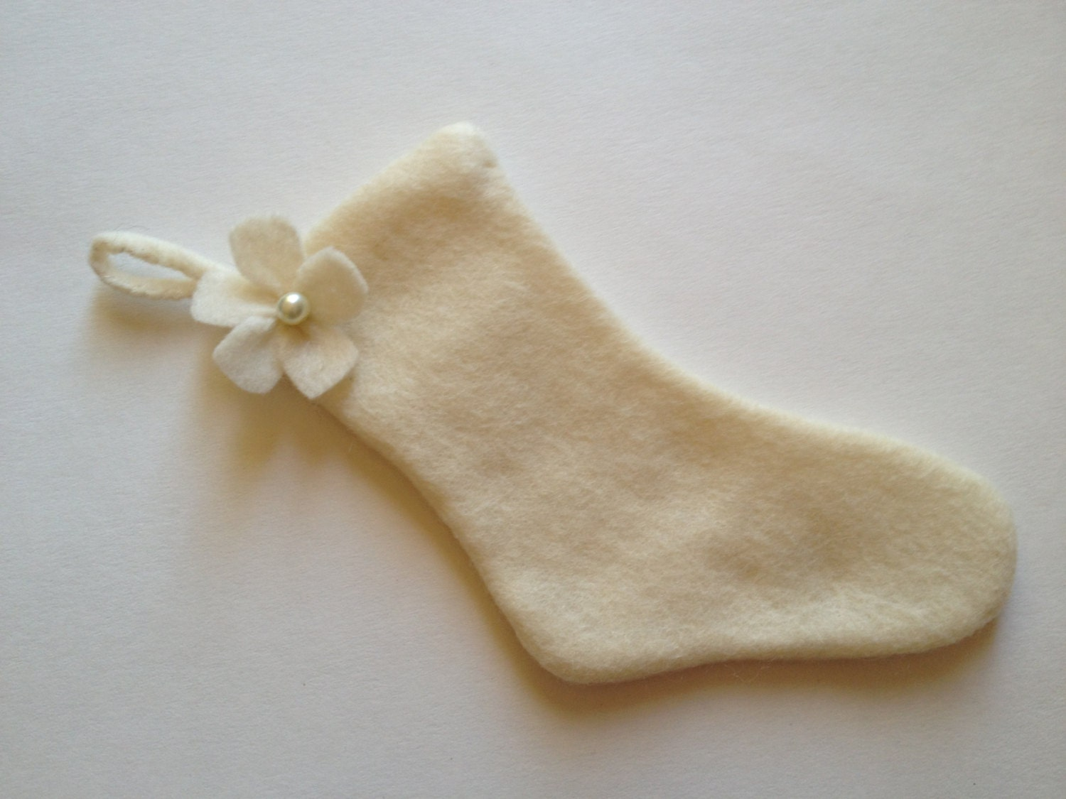 Precious Christmas Stocking Beige Felt Pearl Flower Ornament Favor Tag Gift Tag Decoration Handmade Holidays - thegiftgardenshoppe