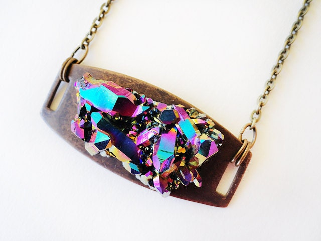 Titanium quartz druzy necklace MARIAH