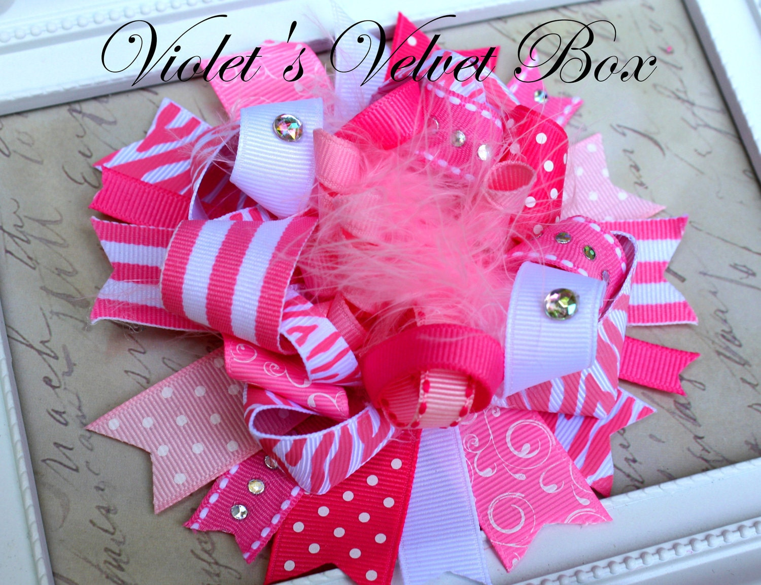Pink Hair Bow - Pink Bow-Luxurious- Boutique Bow-Funky OVER THE TOP by Violet's Velvet Box