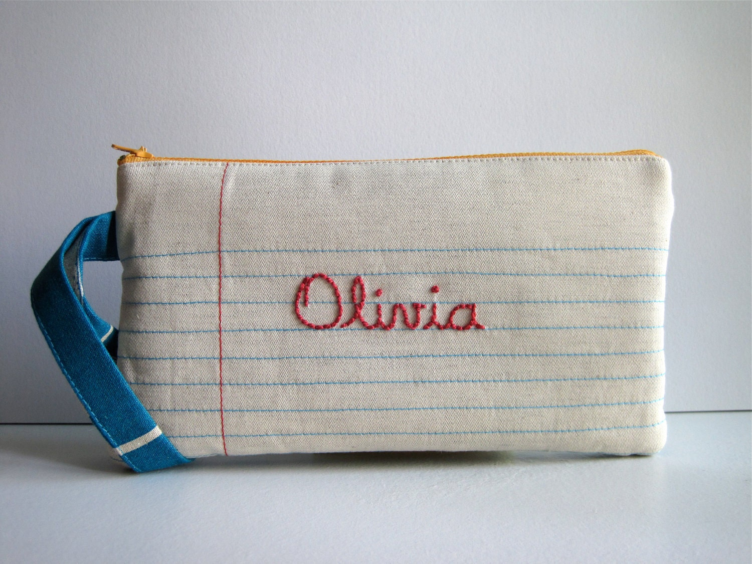 Lined Paper, Writing Paper Fabric and Hand-Embroidered Name. Pencil Case, Pencil Pouch, Wristlet.