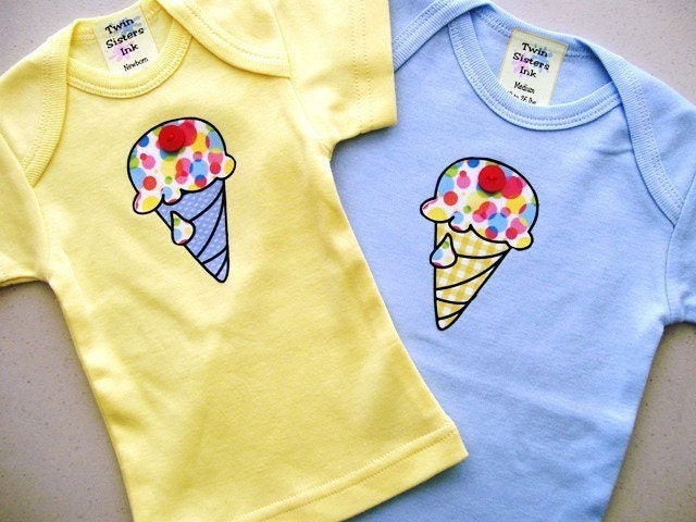 Tutti Fruity Ice Cream Tee or Diaper Shirt