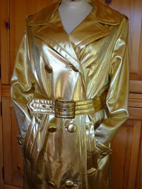 VTG 1960s Spy Girl GOLD Trenchcoat  SZ M