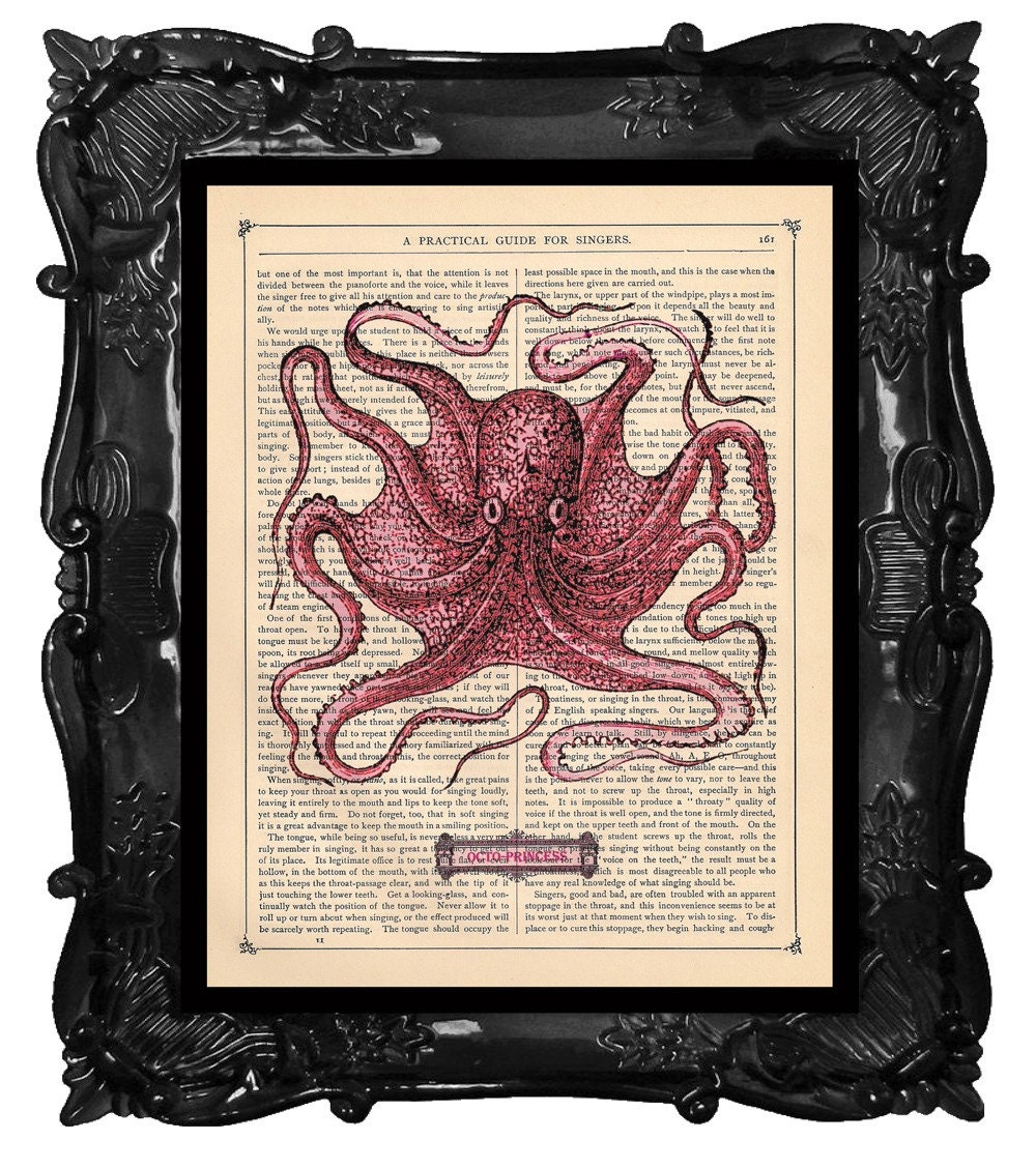 FREE SHIPPING WORLDWIDE PINK OCTOPUS PRINT OCTOPRINCESS on a Antique 1890 Book Page