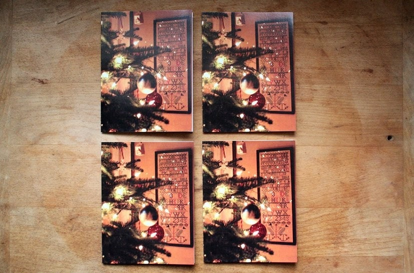 Set of 4 Sampler ChristmasThemed Notecards