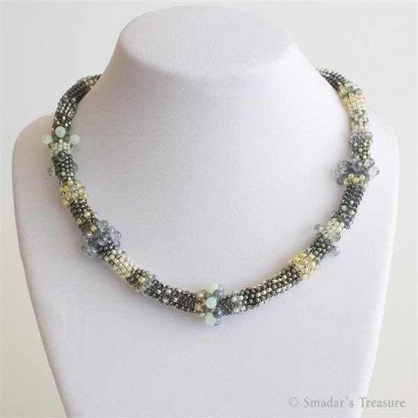Grey and Yellow Freeform Beadwoven Necklace with Shell Pendant