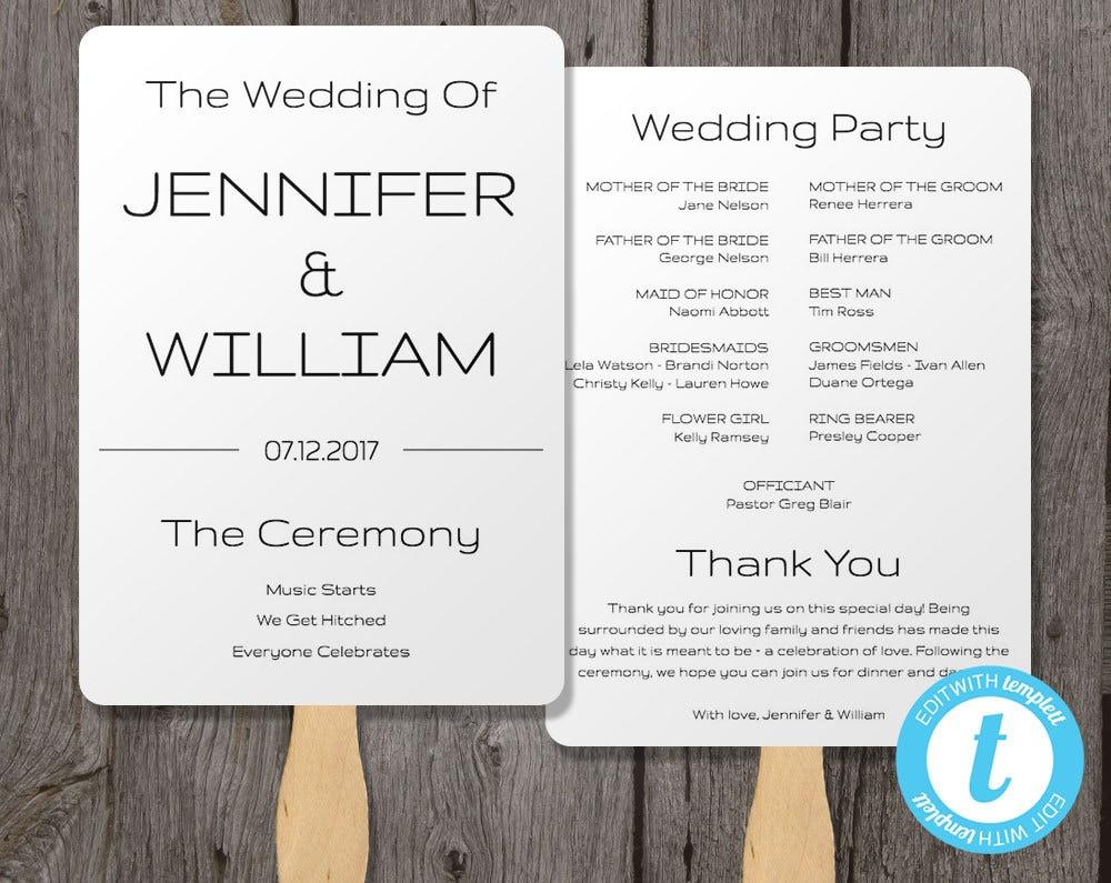 Wedding program poster template