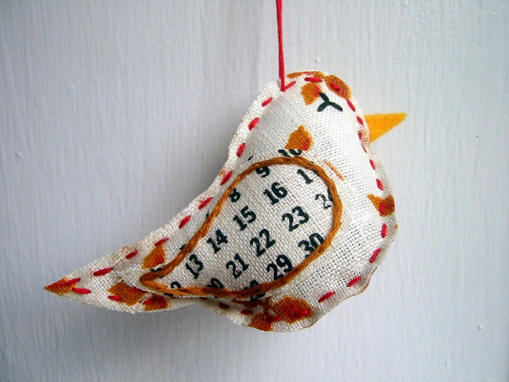 Vintage Tea Towel Bird- Balsam Scented Ornament