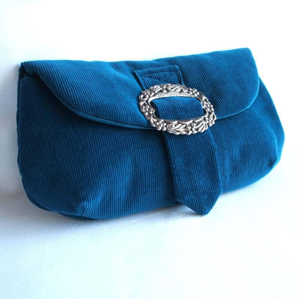 Teal and silver clutch purse