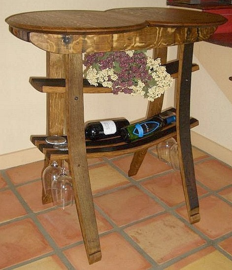 Items similar to wine barrel tasting table on etsy for 1 2 wine barrel table