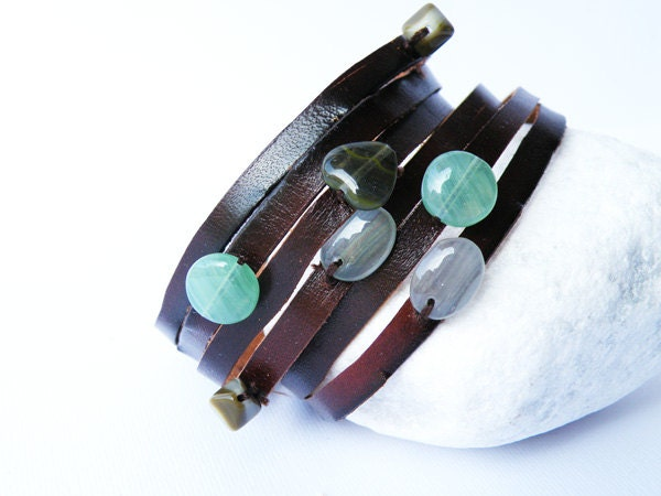 Cuff Leather Bracelet. Multi Strand. Glass beads. Green Tones. BrownLeather. by SteamyLab.