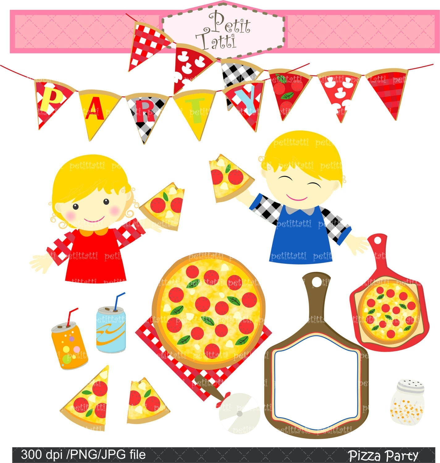 Digital clip art for all use Pizza Pizza party 3 by petittatti