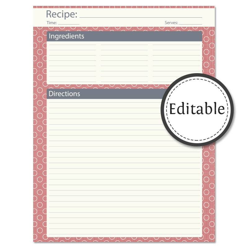 Full Page Recipe Template - FREE DOWNLOAD