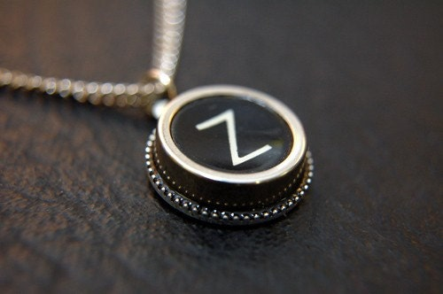 Vintage Typewriter Key Pendant Necklace - Silver Rim Letter Z - Other Letters Available