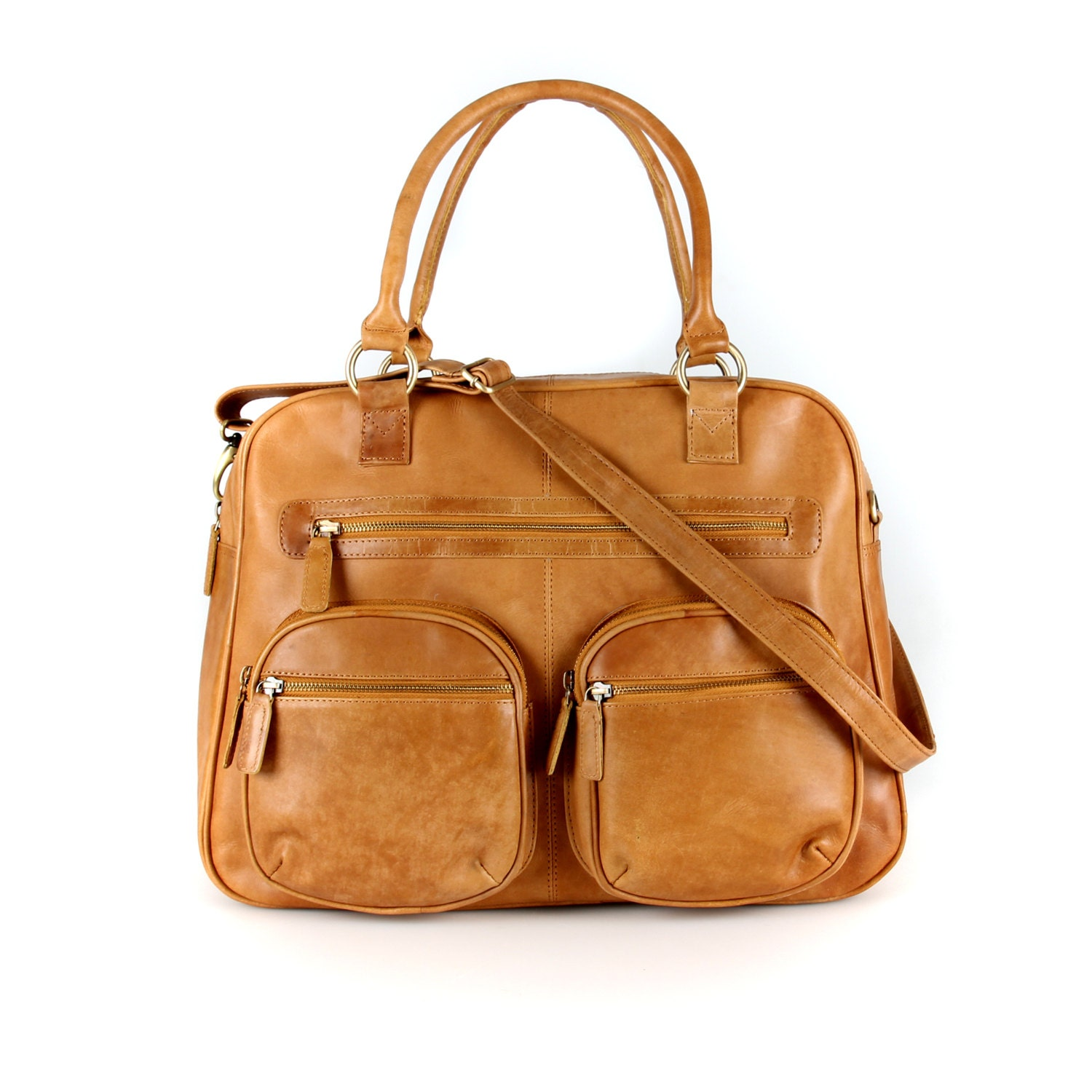 Brown Leather Weekend Holdall Travel Diaper Bag Tan