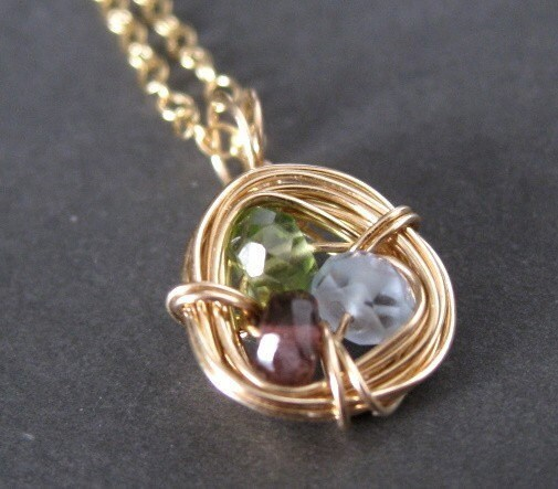 custom wire wrapped nest family birthstone necklace