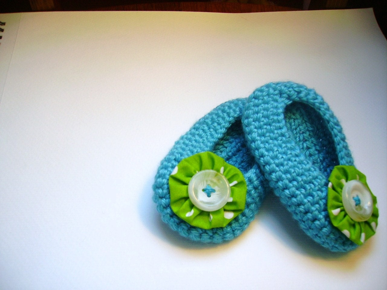blue girls vintage button slippers