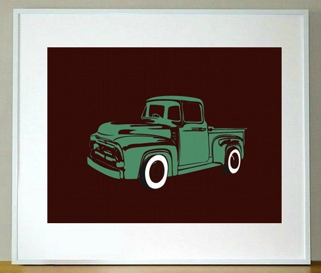 Personalized Children's Vintage White Truck Print 5 x 7. baby boy nursery wall art