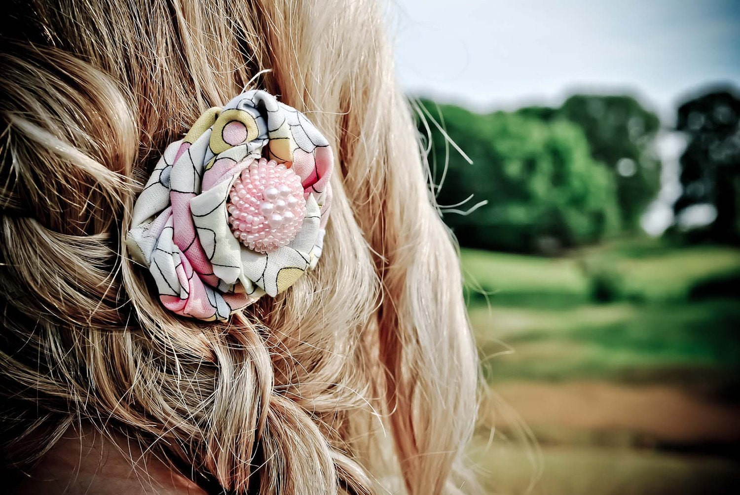 fabric and button flower  hair clip