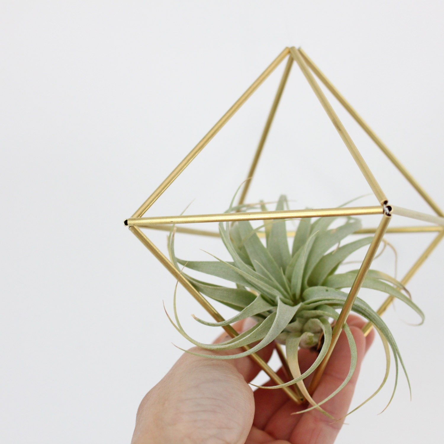 Brass Himmeli Air Plant Holder no. 1 / Modern Hanging Mobile / Geometric Ornament / Minimalist Home Decor - HRUSKAA