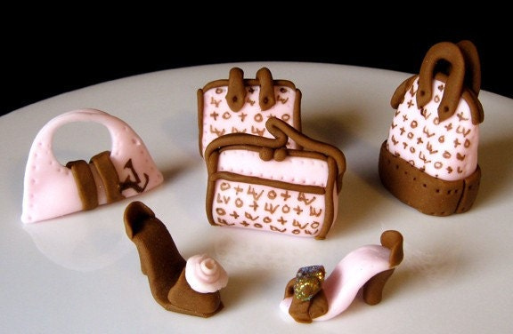 Edible Luis Vuitton Purse and Shoes cupcake topper set