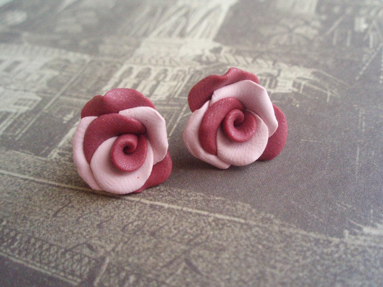 Rose & Lavender Handmade Roses Earstuds