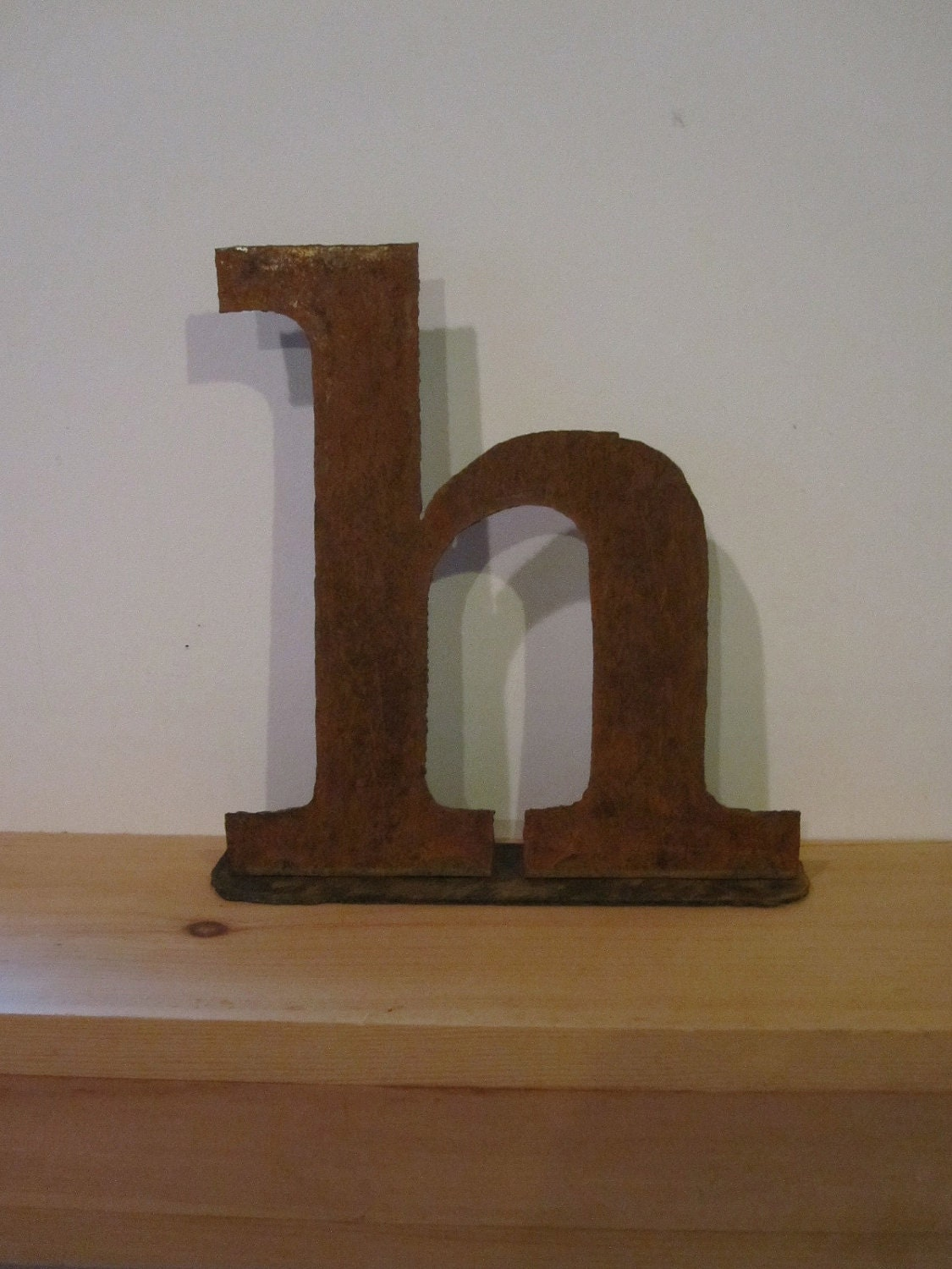 Lowercase metal letter h on stand by theshack on Etsy