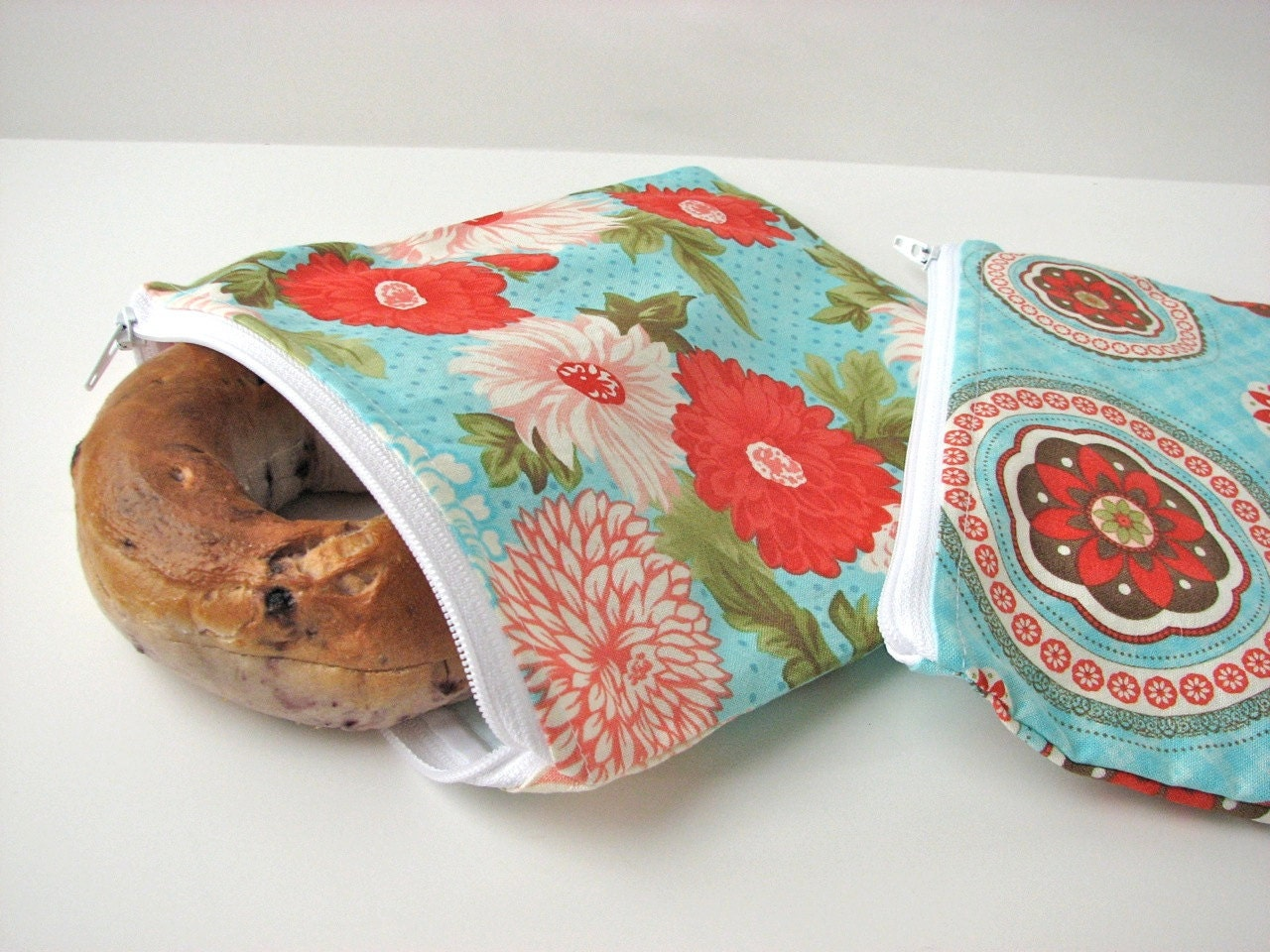 Reusable Snack Bag and Sandwich bag set of 2 in Red and Aqua florals - ready to ship