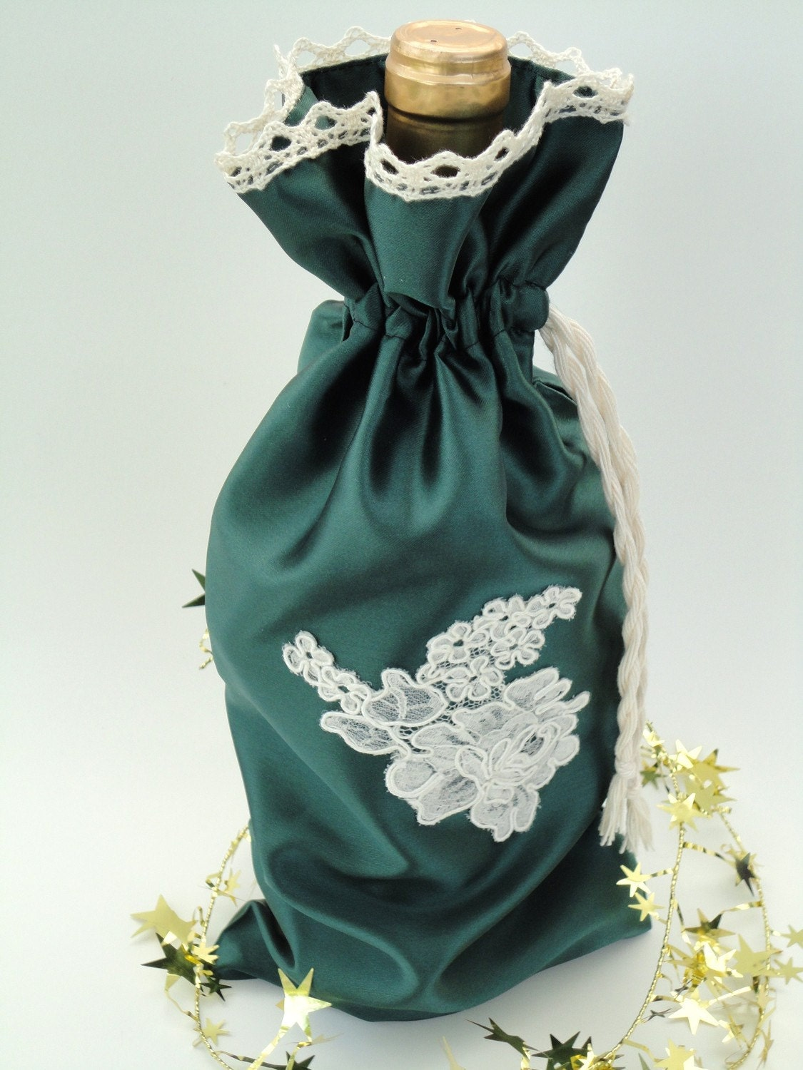 Enter to win this gorgeous green satin and ivory lace wine bag!