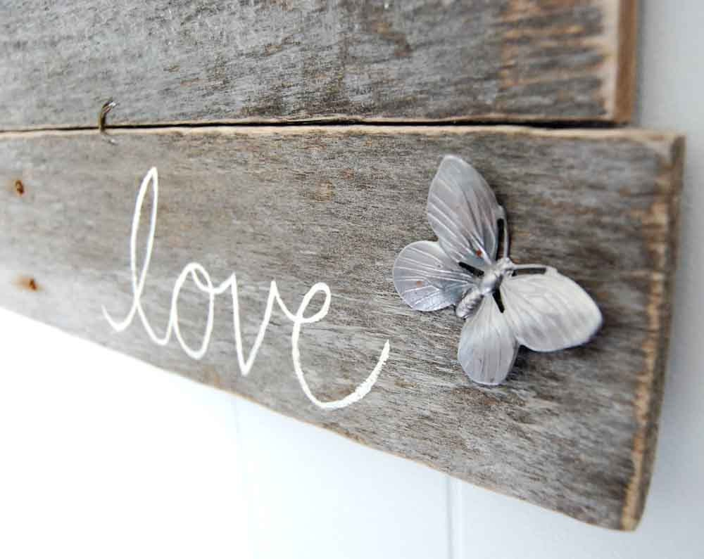 Upcycled shabby chic sign love wall decor butterfly by for Shabby chic wall art