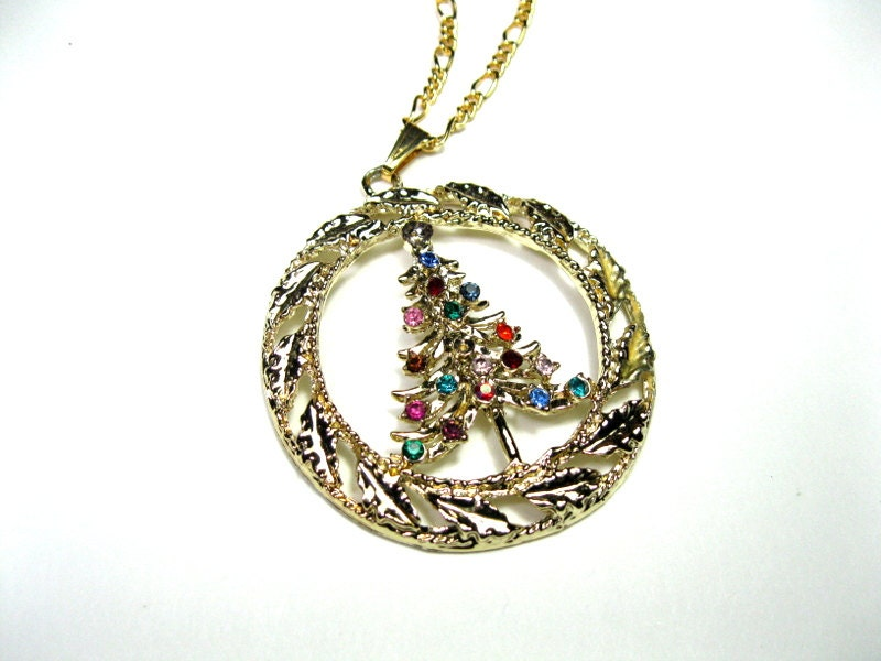 Retro 1960s Christmas Tree Pendant Necklace