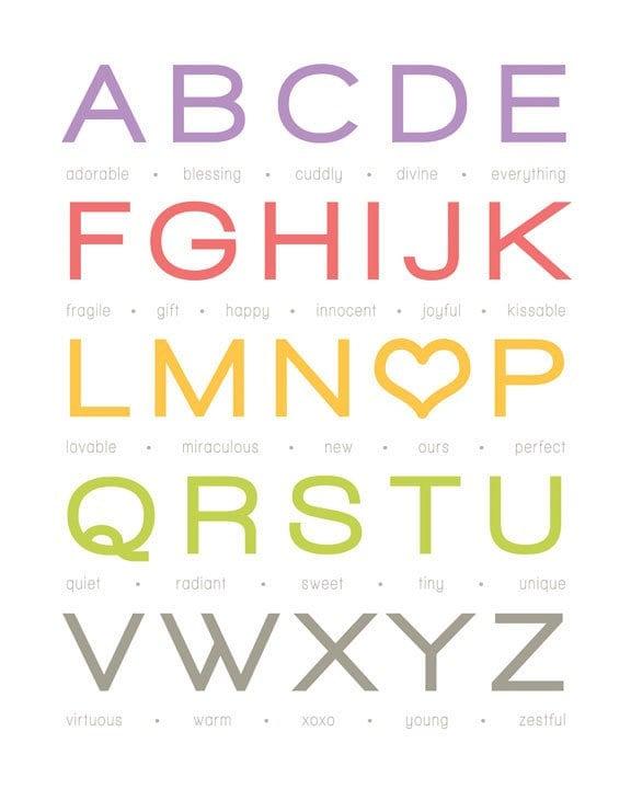 "My Alphabet Baby - Girl - 8x10"" Print (Customizable)"