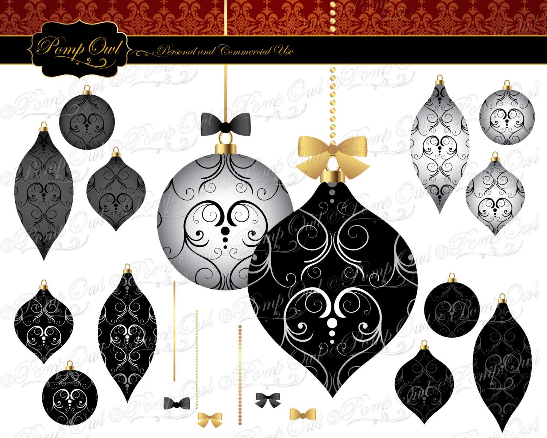 Digital Clipart Fancy Damask Christmas tree ornaments by PompOwl