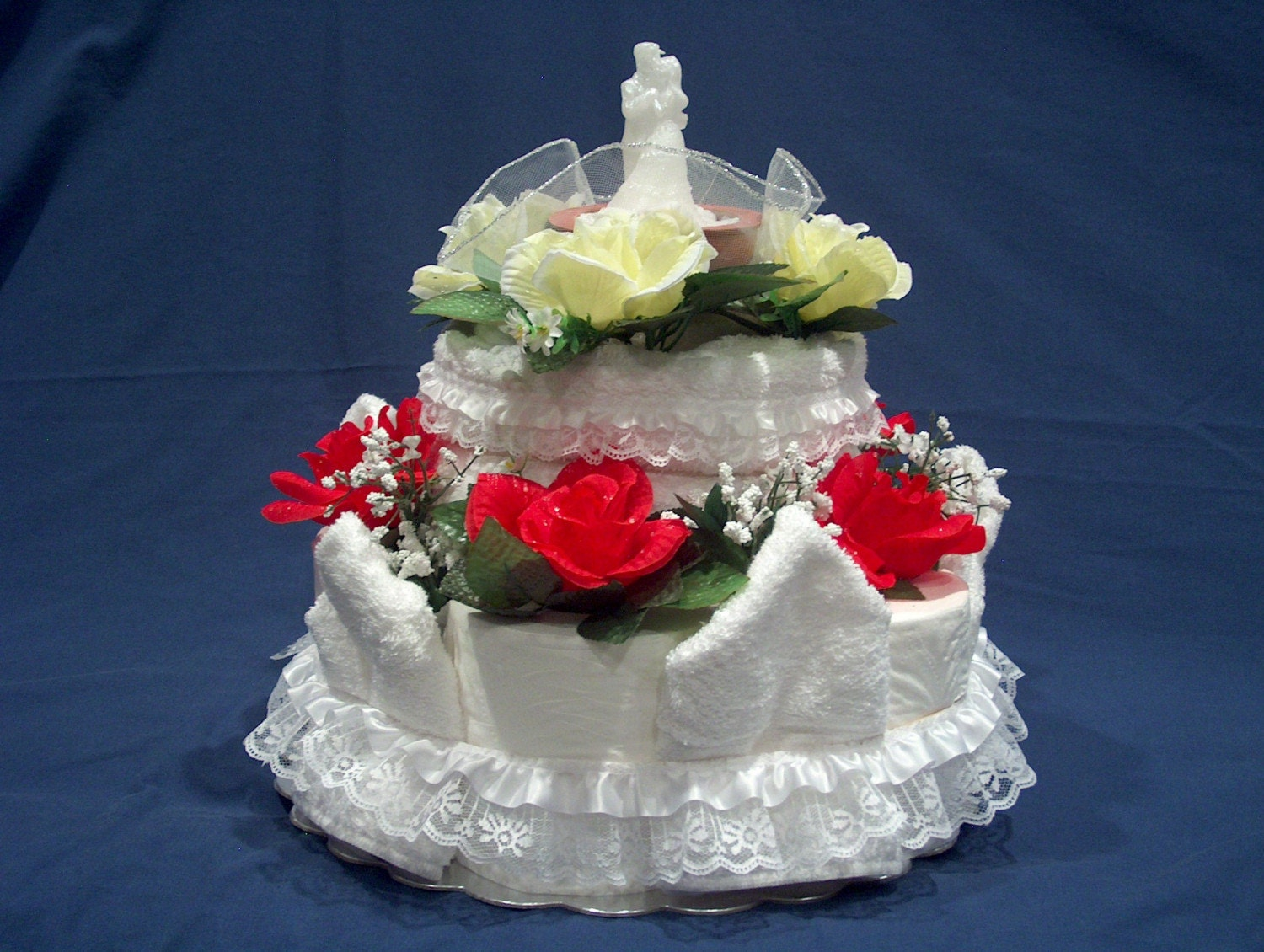 Mock Wedding Cake With Candle