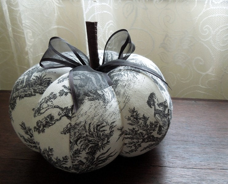 black and white toile pumpkin decorative autumn fall by. Black Bedroom Furniture Sets. Home Design Ideas