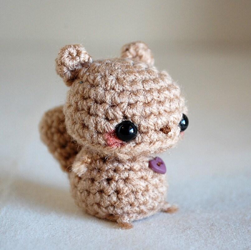 Amigurumi Squirrel Crochet Pattern : Baby Brown Squirrel Kawaii Mini Amigurumi by twistyfishies