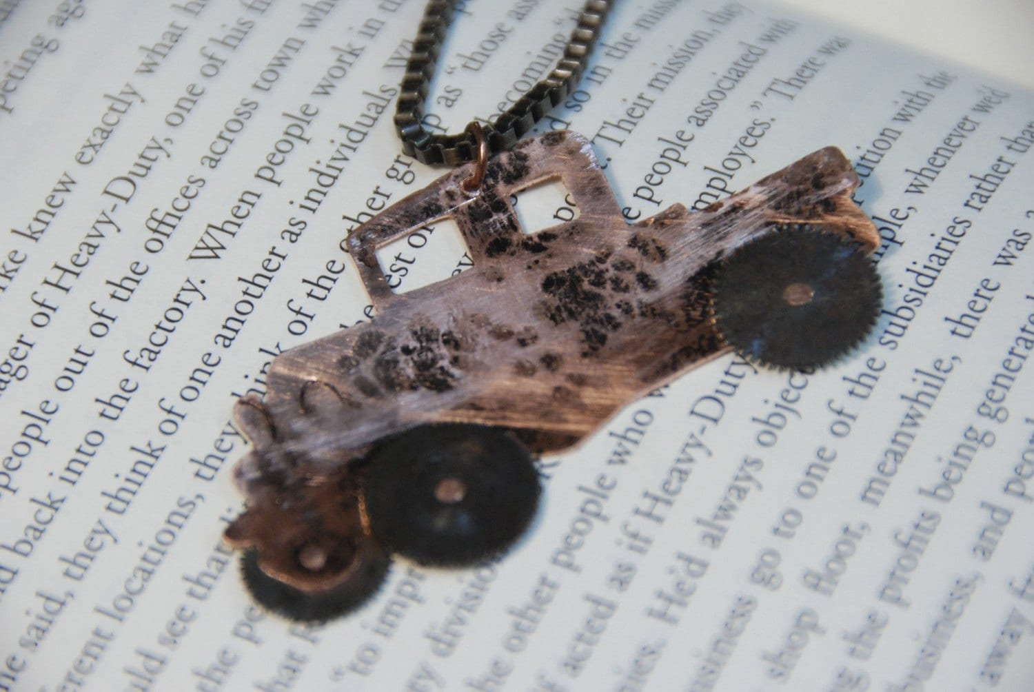 Keep on Truck'n Antique Watch Part Necklace